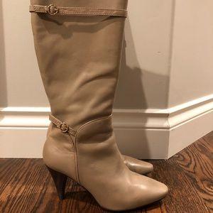 BCBG leather stiletto calf length boots
